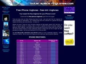 Interfaccia del primo sito per scaricare suonerie per iPhone gratis