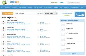 Interfaccia del settimo sito per scaricare suonerie per iPhone gratis