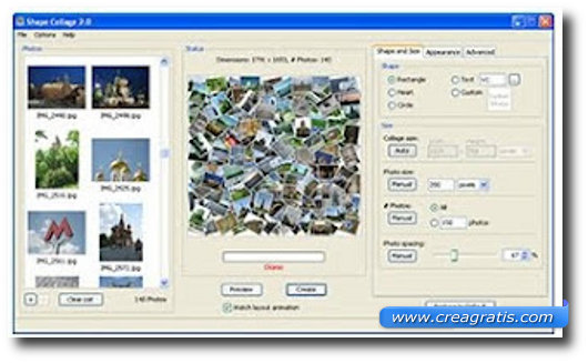 Interfaccia del programma Shape Collage per creare collage