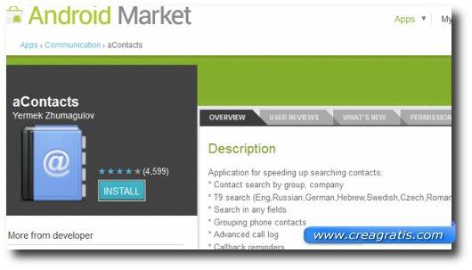 Immagine dell'applicazione aContacts per Android
