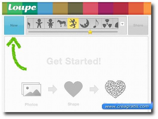 Interfaccia del sito Loupe per creare collage di foto