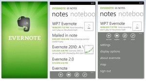 Immagine dell'applicazione Evernote per Windows Phone 7