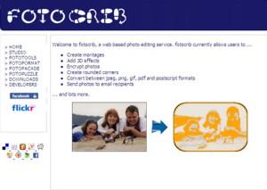 Immagine del sito Fotocrib per modificare foto online