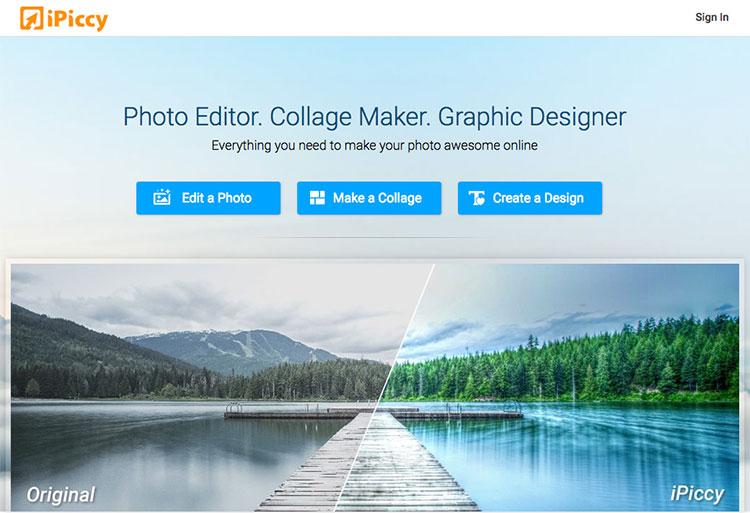 Sito iPiccy per modificare foto online