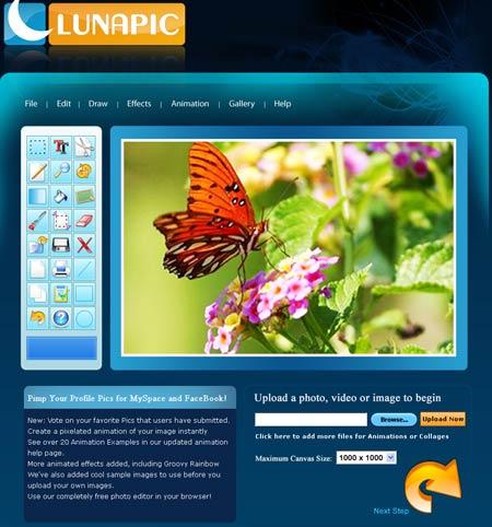 Immagine del sito Lunapic per modificare foto online