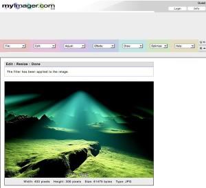 Immagine del sito MyImager per modificare foto online