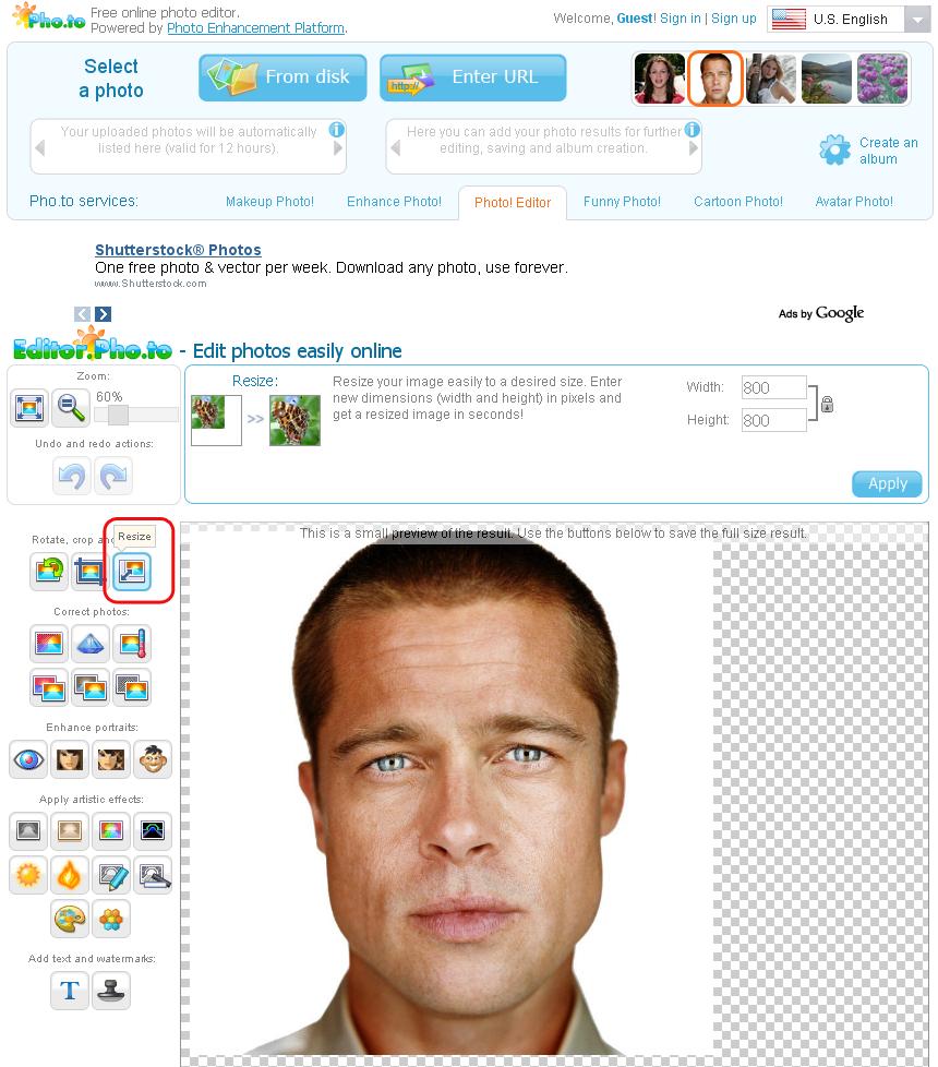 Immagine del sito Editor.Pho.to per modificare foto online