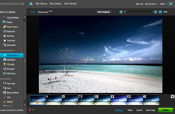 Immagine del sito Photoshop per modificare foto online