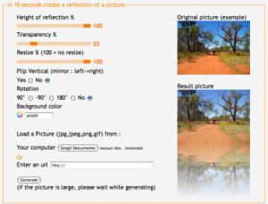 Immagine del sito PicReflect per modificare foto online
