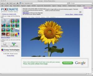Immagine del sito Pixenate per modificare foto online