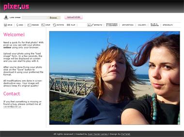 Immagine del sito Pixer per modificare foto online