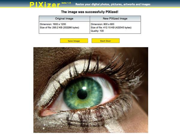 Immagine del sito Pixizer per modificare foto online