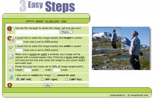 Immagine del sito Resize2Mail per modificare foto online
