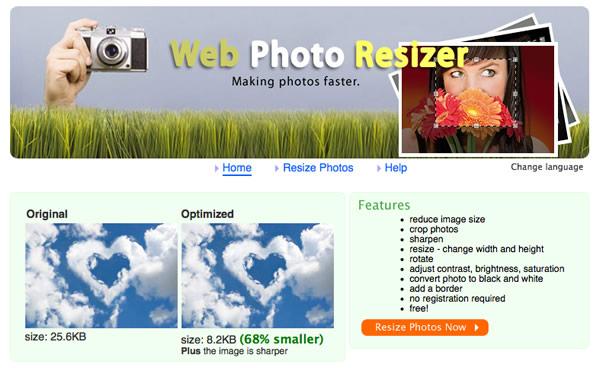 Immagine del sito WebResizer per modificare foto online