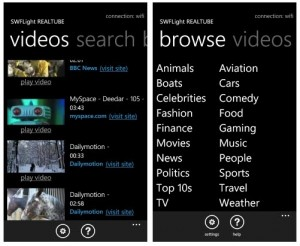 Immagine dell'applicazione YouTube per Windows Phone 7