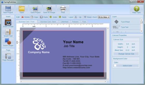 Interfaccia grafica del programma SpringPublishers