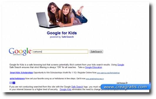 Immagine del motore di ricerca Google Safe Search for Kids