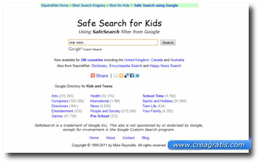 Immagine del motore di ricerca SquirrelNet Safe Search for Kids