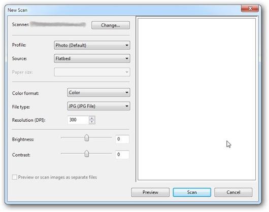 Interfaccia grafica del programma Windows Fax & Scan