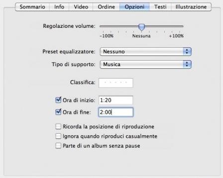 Immagine che mostra come selezionare una parte della canzone