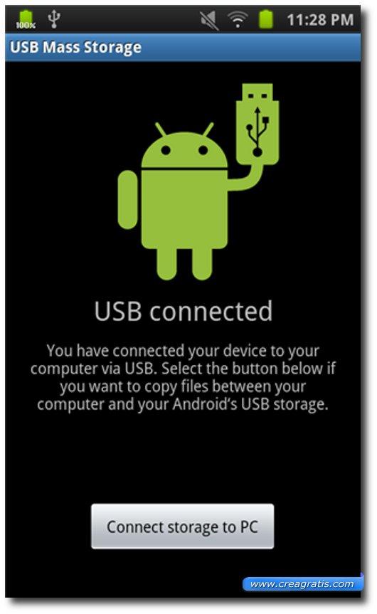 Immagine della connessione del dispositivo Android
