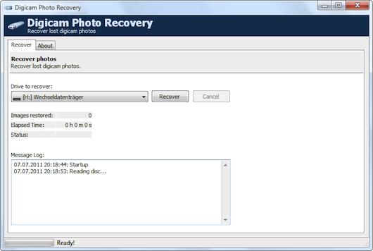 Interfaccia grafica del software Digicam Photo Recovery
