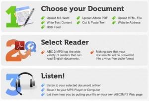 Interfaccia di ABC2MP3 per convertire testo in audio MP3