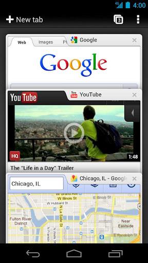 Interfaccia grafica del browser Chrome per Android