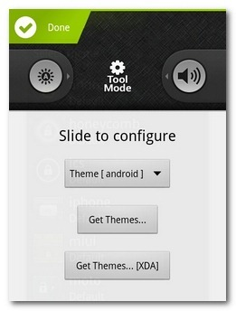 Schermata dell'app per cambiare il tema della lockscreen