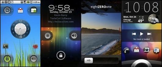 Alcune screenlocker di Android realizzate con WidgetLocker