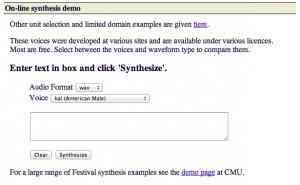 Interfaccia del servizio FestVox per convertire testo in audio MP3