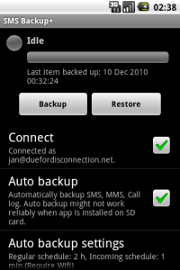 Interfaccia dell'app SMS Backup+ per Android