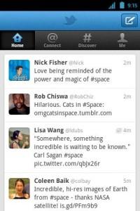 Interfaccia dell'app Twitter per Android