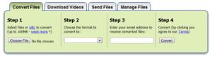 Interfaccia del servizio Zamzar per convertire testo in audio MP3