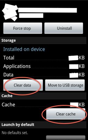 Schermata per cancellare cache e dati delle app