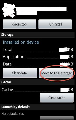 Schermata per spostare le applicazioni su memoria esterna
