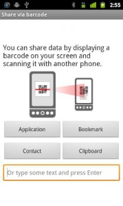 Interfaccia dell'app Barcode Scanner per Android