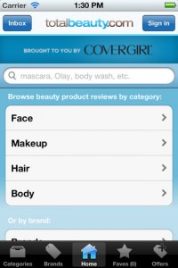 Interfaccia dell'app Beauty Product Reviews di make up per ragazze