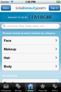 Interfaccia dell'app Beauty Product Reviews di make up per ragazze