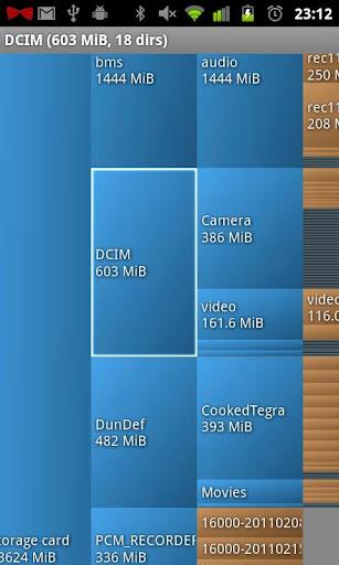 Interfaccia dell'applicazione Disk Usage