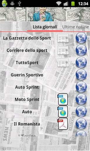 Interfaccia dell'app Edicola Sportiva per Android
