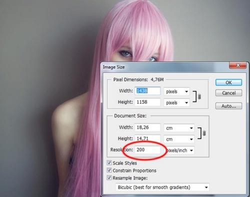 Finestra di Photoshop per aumentare la risoluzione di una foto