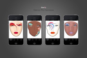 Interfaccia dell'app Glamzy di make up per ragazze