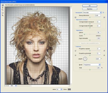 Utilizzo del filtro correzione lente sulla foto