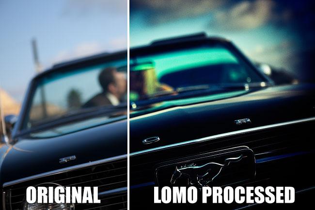Immagine originale e immagine con effetto lomo a confronto