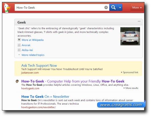 Interfaccia grafica del motore di ricerca DuckDuckGo