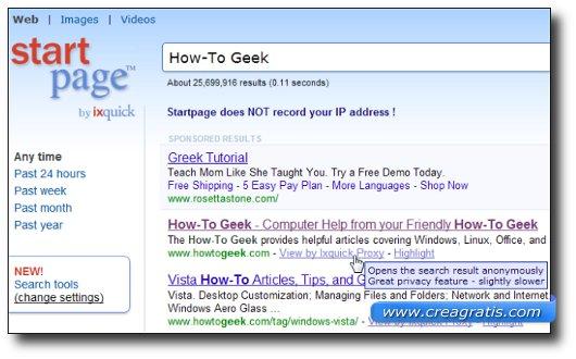 Interfaccia grafica del motore di ricerca Startpage