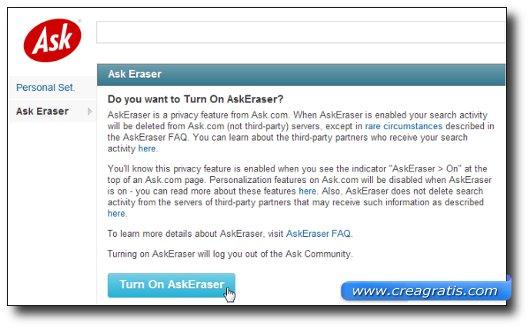 Interfaccia grafica del motore di ricerca Ask.com – AskEraser