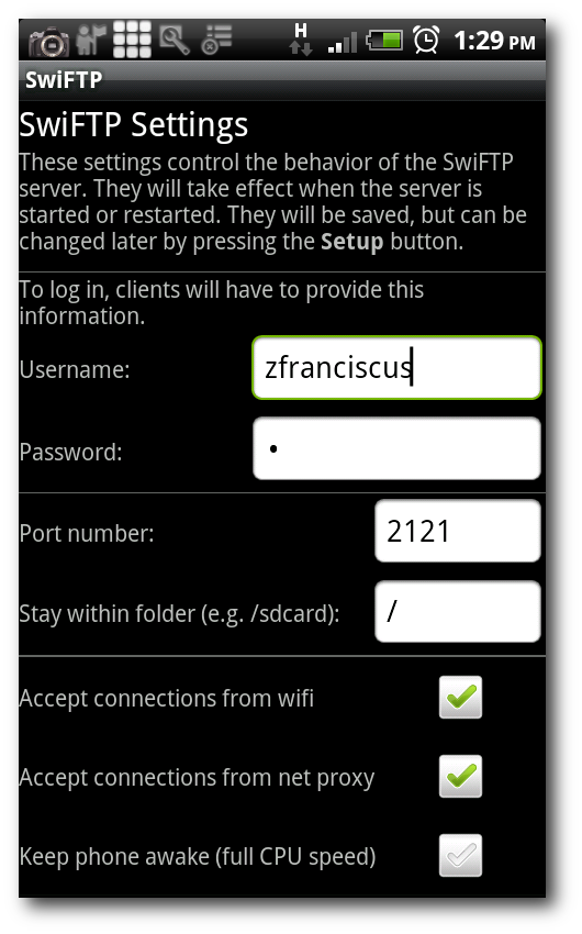 Schermata della prima configurazione di SwiFTP