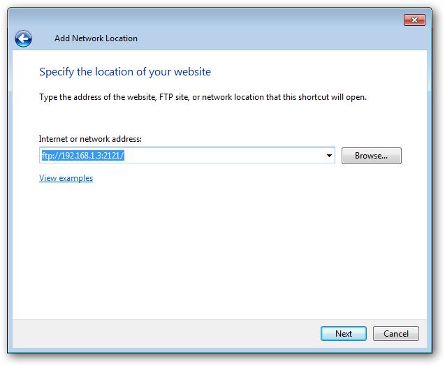 Schermata Add Network Location per l'inserimento dell'indirizzo FTP
